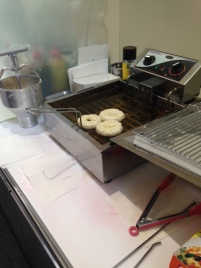 There are my doughnuts cooking