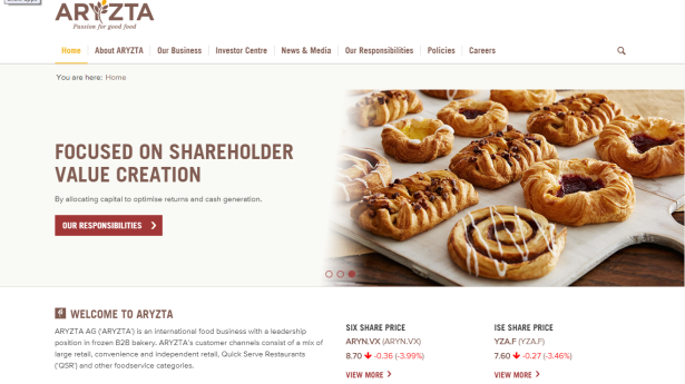 Aryzta website